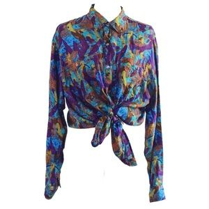 VINTAGE 💯SILK Colorful 'New Fast' C&A Shirt/Dress